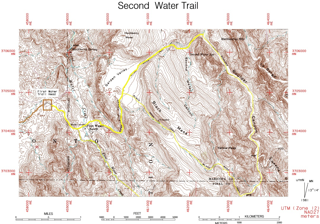 trail map  by scottm. second water trail  • hiking • arizona