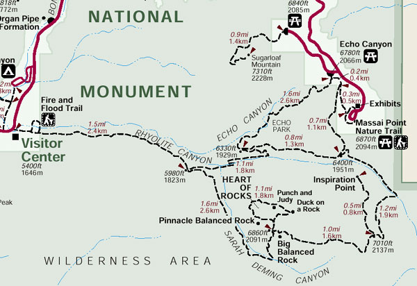 Free Trail Map of Chiricahua National Monument (get at park entrance)